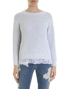 Ermanno by Ermanno Scervino - White and gray lamé pullover with lace