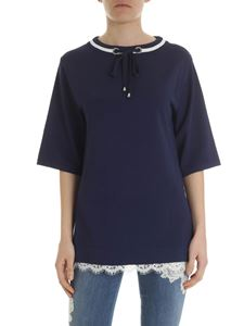 Ermanno by Ermanno Scervino - Blue sweater with ribbed collar