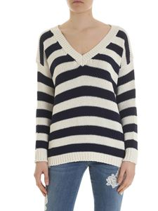 Ermanno by Ermanno Scervino - Striped oversized pullover with lace