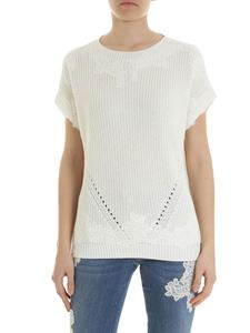 Ermanno by Ermanno Scervino - Oversized white pullover with lace details