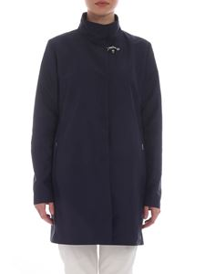 Fay - DarDark blue overcoat with high collar