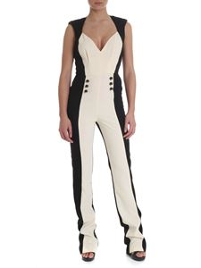 Elisabetta Franchi - Sleeveless crepe jumpsuit in ivory black and white
