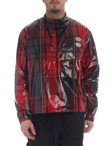 Off-White - Red technical fabric jacket with tartan motif