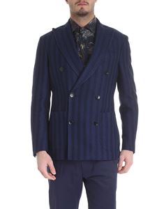 Etro - Blue embroidered jersey jacket