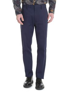 Etro - Blue trousers with brown stripes