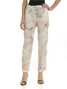 Ballantyne - Ivory trousers with floral print