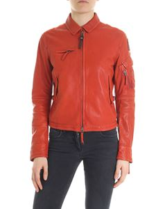 Parajumpers - Burgundy cut-out leather jacket