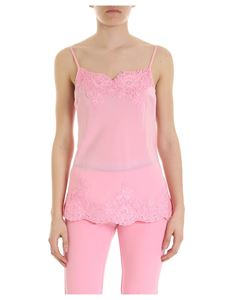 Ermanno by Ermanno Scervino - Pink silk top with lace trim