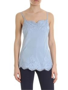 Ermanno by Ermanno Scervino - Light blue silk top with lace trim