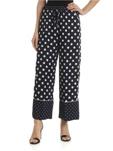 Ermanno by Ermanno Scervino - Blue palazzo trousers with polka dots