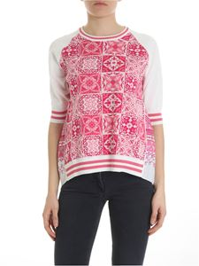 Ballantyne - White and pink pleated sweater