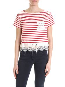 Ermanno by Ermanno Scervino - Ivory cropped sweater with stripes