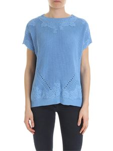 Ermanno by Ermanno Scervino - Blue sleeveless pullover with lace