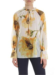 Blugirl - White blouse with yellow and green anemone print