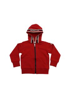 Moncler Jr - Moncler hoodie in red with branded edges