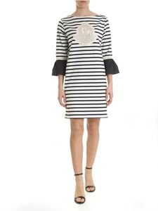 Moncler - White striped dress with logo