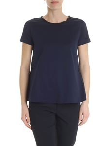 Moncler - Moncler blue t-shirt with gathered detail
