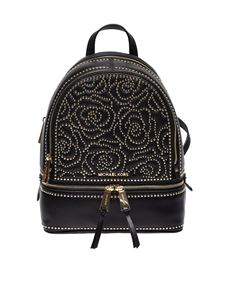 Michael Kors - Rhea medium backpack in black leather with studs