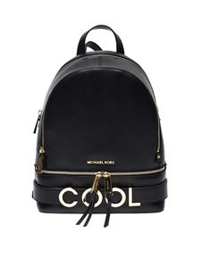 Michael Kors - Rhea medium backpack in black leather with Cool insert