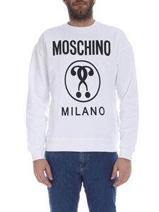 Moschino - White sweatshirt with Double Question Moschino logo