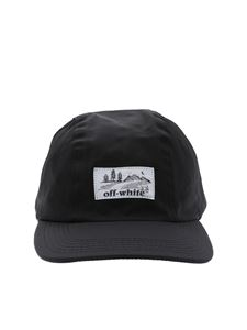 Off-White - Black nylon cap with fuchsia details