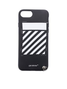 Off-White - Black and white Diag cover for iPhone 8