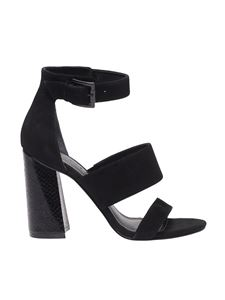 Kendall + Kylie - Black Janye4 sandals with python heel