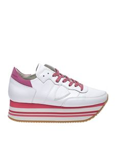 Philippe Model - White and fuchsia Eild sneakers