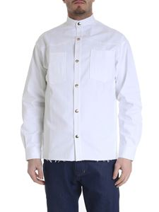 Ribbon Clothing - Camicia in denim bianco effetto destroyed