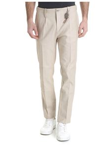 Ribbon Clothing - Pantalone beige in denim giapponese