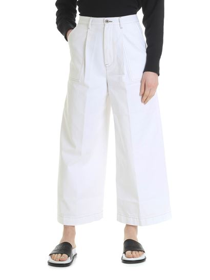 Pence - White Leonia trousers with contrasting stitching