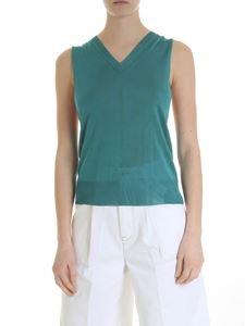 MM6 by Maison Martin Margiela - Turquoise ribbed top