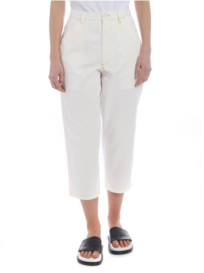 Comme Des Garçons Shirt Boys - White trousers with contrasting yellow stitching