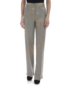 Dondup - Marion gray and golden jacquard trousers