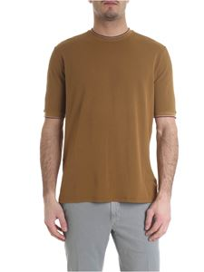 Zanone - Ocher yellow T-shirt with gray and burgundy edges