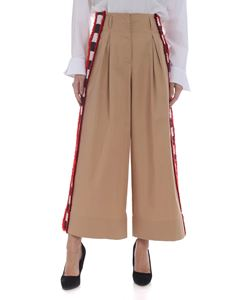 Stella Jean - Beige palazzo trousers with stripes