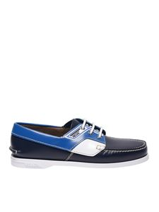 Prada - Boat shoes in blue brushed leather