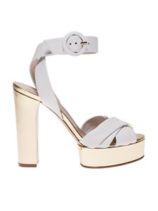 Casadei - White and golden ankle strap sandals