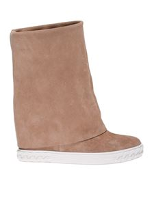 Casadei - Suede ankle boots in nude color
