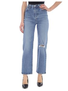 Levi's - Blue Ribcage Straight ankle jeans