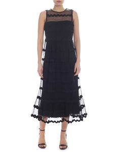 Red Valentino - Sleeveless dress in black point d'esprit tulle