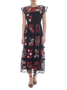Red Valentino - Black tulle dress with embroideries