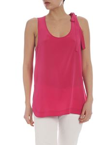 Red Valentino - Pure fuchsia silk top with bow detail