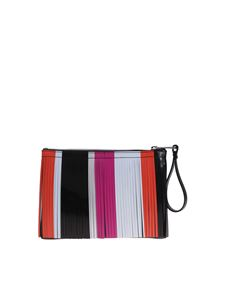 Gum Gianni Chiarini - Black medium Number clutch bag with multicolor fringes