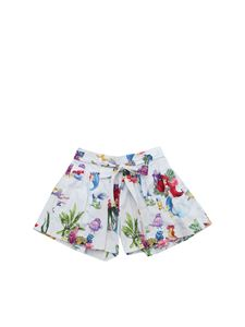 Monnalisa - White shorts with The Little Mermaid print