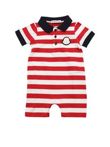 Moncler Jr - Red and white striped rompersuit