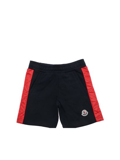 Moncler Jr - Blue bermuda with quilted stripes