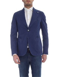 L.B.M. 1911 - Blue two button jacket with vintage effect