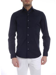 Fay - Blue shirt with tone-on-tone logo