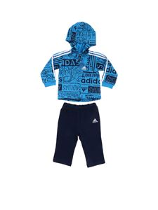 Adidas - Light blue and blue Graphic Fleece jumpsuit